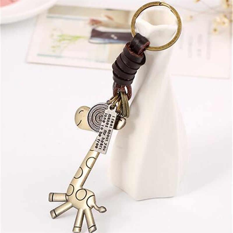 Độc đáo Keychain người đàn ông và phụ nữ món quà Nhỏ hợp kim Đáng Yêu con hươu cao cổ Dệt khóa Chính gói Mặt Dây Chuyền