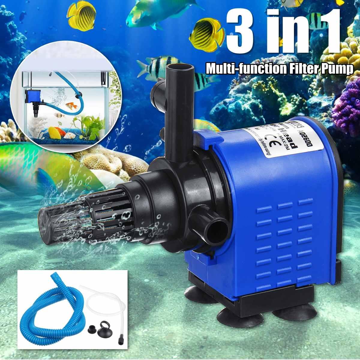 3-in-1 Internal Aquarium Filter Pump Water Circulating Water Spray Flow Fish Tank Submersible Purifier Filter Pump 8/15/20/25/35