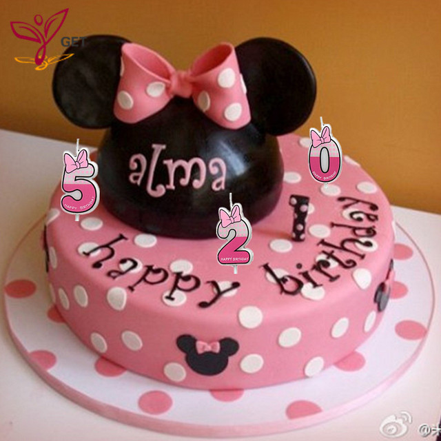 0 1 2 3 4 5 6 7 8 9 Pink Birthday Number Candle Digital Candle