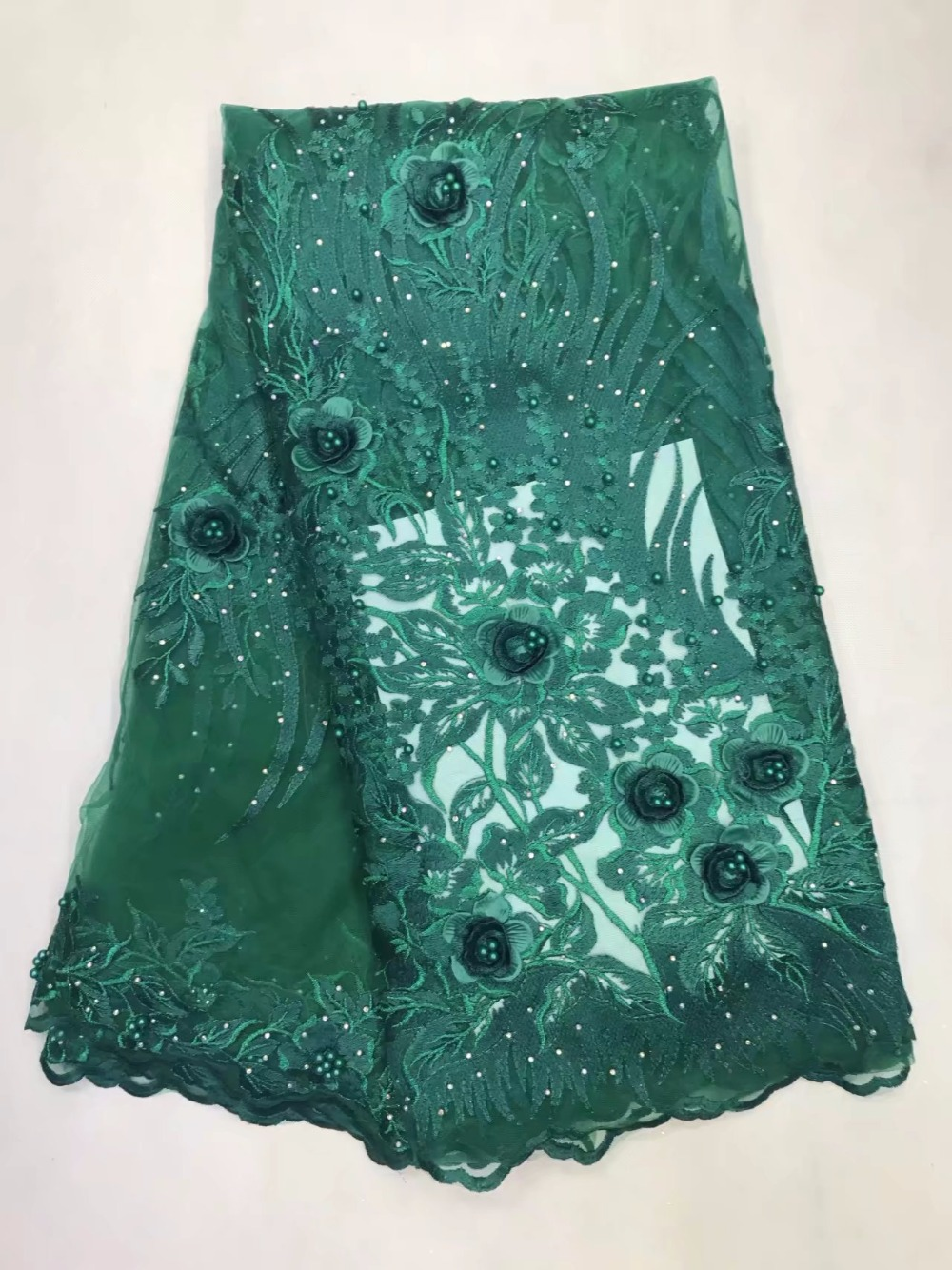 Middle transparent emerald green African Swiss voile lace original chiffon fabric with stones Appliques beads Healthy