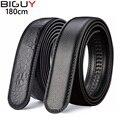 180cm 2016 New Black Genuine Leather Men Belt Without Buckle Mens Trousers Belts Male Belt 130cm 140cm 150cm 160cm 1277pidai