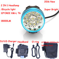 New 2 in 1 18000 LM 10 * XM L T6 LED Front Head Bike Bicycle Cycling Lamp Blue + 10000mAh 6*18650 Battery Pack + Charger