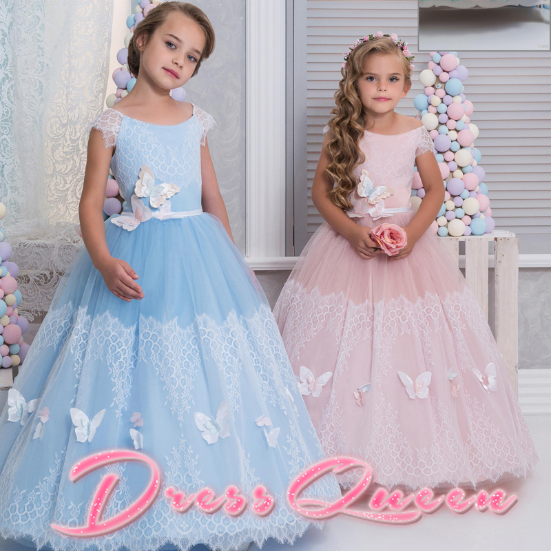 2017 New Flower Girl Dresses Blue And Pink Appliques Butterfly Ball Gown Sleeveless Formal O-neck Communion Gown Custom Vestidos