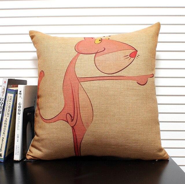 rose leopard oreiller couverture de toile de coton 18 coussin de dessin anime coussin