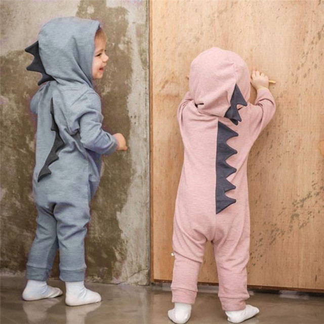 e314d9fca8c Newborn Infant Baby Boy Girl Dinosaur Hooded Romper Jumpsuit Outfits  Clothes Fashion Kids Baby Meisjes Riem Katoenen Romper P6