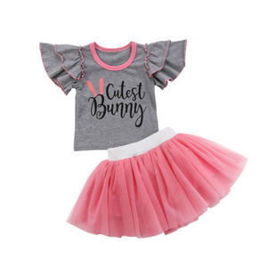 Toddler Baby Girl Cutest Bunny Ruffles Tops T-shirt + Pink Lace Tutu Skirt 2pcs Kid Girls Outfit Clothes(China)