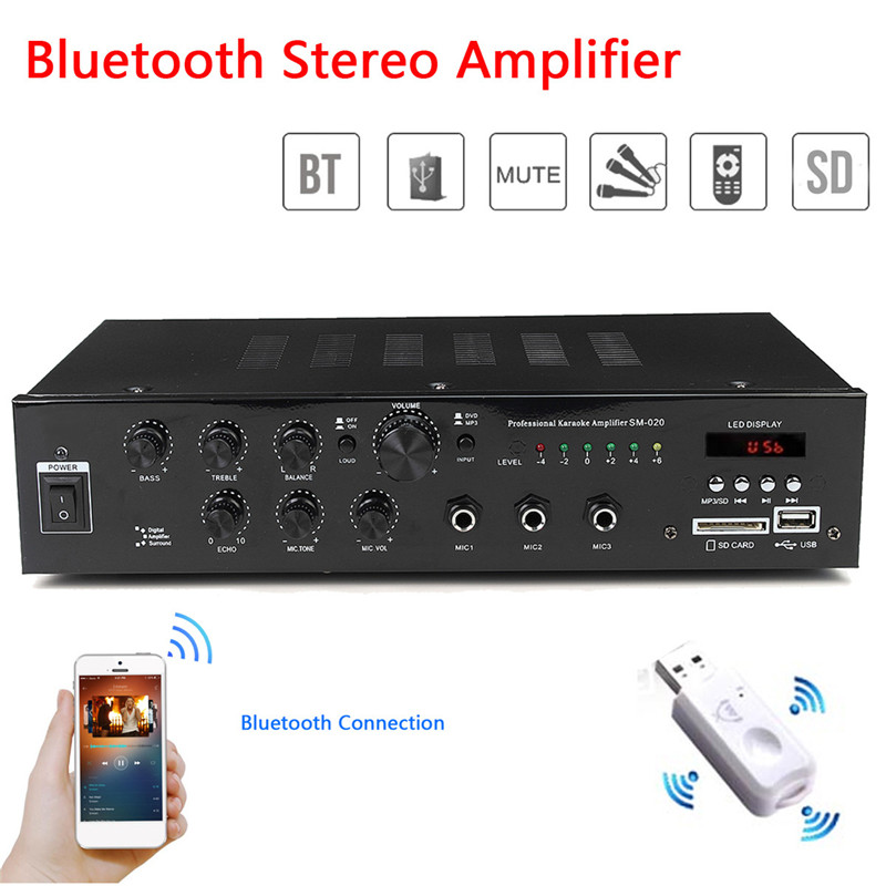 Bluetooth 4.0 HIFI Power Audio Amplifier Home Stereo 4-8 ohm 2 CH 3 MIC KTV Mixer Car Amplifier 220V Home Theater Amplifiers цена и фото