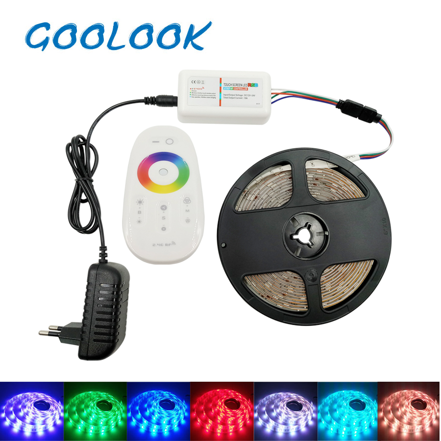 Goolook SMD RGB LED Strip Light 5050 30LEDs LED Light Tape Diode Flexible Waterproof LED Ribbon RF  Controller DC 12V Power Set led light rgb 5050 led strip ip20 non waterproof flexible diode tape 2 4g rf remote rgb controller power adapter 20m 15m 10m 5m