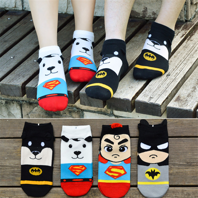 Summer Cute Cartoon Cotton Batman Superman Women Boat Socks Summer Breathable Kawaii Casual Ladies Funny Sock Calcetines Mujer