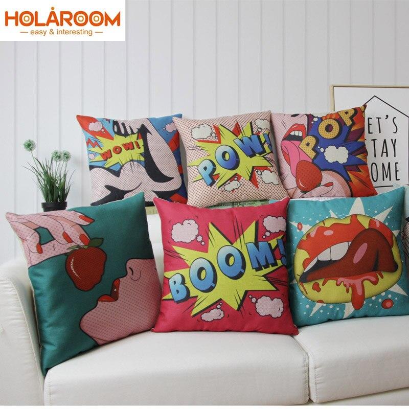 Pleasant Us 3 6 34 Off Cartoon Printing Cushion Cover Linen Fabric Wow Boom Pop Pillowcase For Sofa Bed Throw Pillow Case Chair Car Seat Home Decor In Spiritservingveterans Wood Chair Design Ideas Spiritservingveteransorg