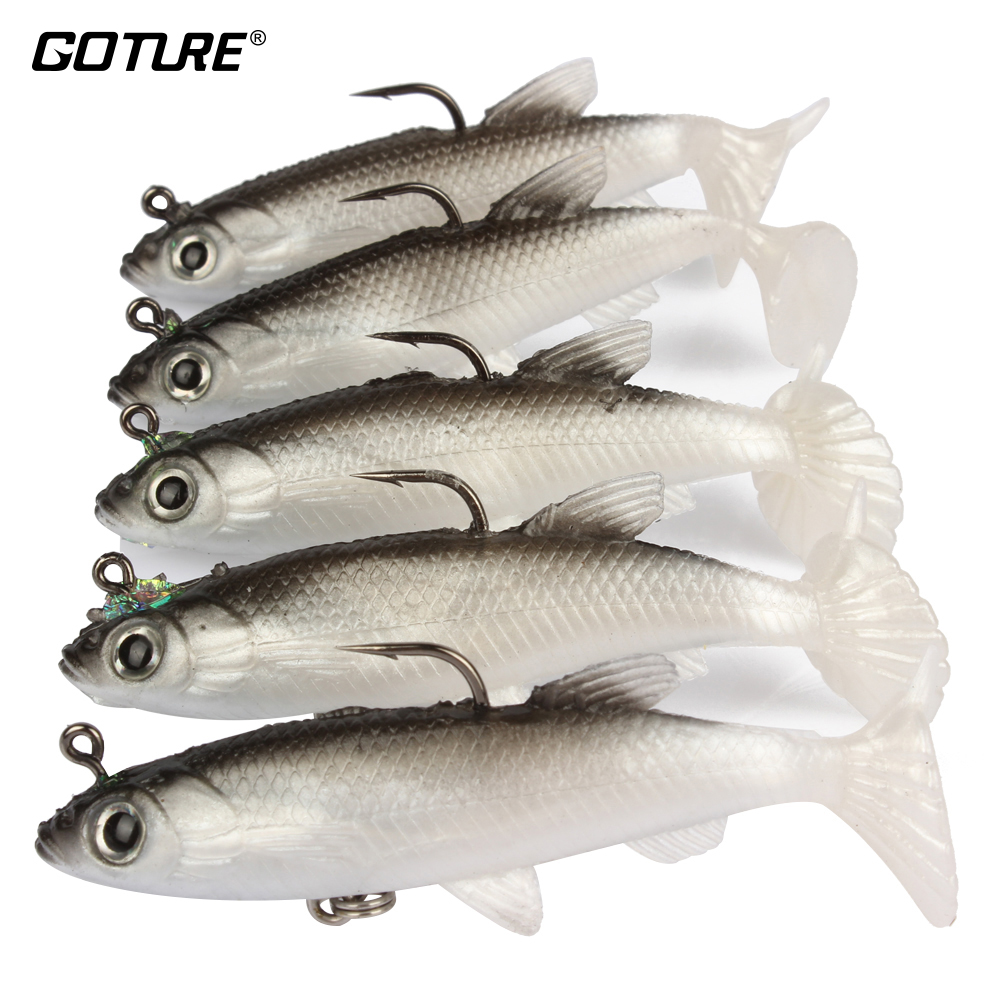 Goture 5 piezas de señuelos de pesca Swimbait 8.5cm / 13g (3.35in / 0.46oz) Sea Bass Killer Lead Jig Head Soft Wobbler Fishing Swim Bait