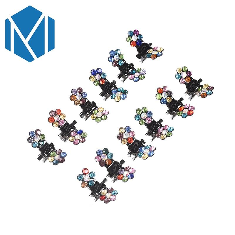 M MISM 12 unids / pack Nueva Crystal Rhinestone Flor Garra de Pelo - Accesorios para la ropa - foto 4