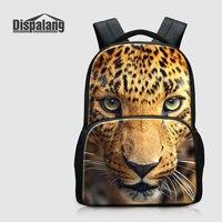 Dispalang 3D Printing Leopard Middle School Students Backpacks 17 Inch Canvas Men Travel Shoulder Bags Animal