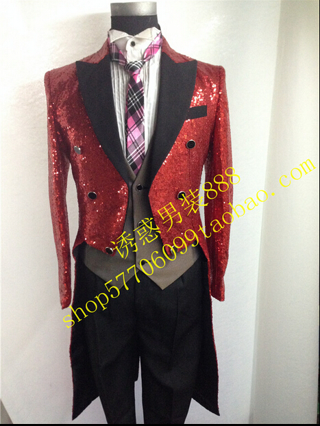 HOT new men singer Costumes sequined tuxedo wedding dress studio chorus conductor swallowtail tuxedo Magician clothing plus size