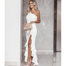 цена на Dress Women Summer Vestidos Party Dress Sexy Long Irregular One Shoulder Elegant Bodycon Ruffles Slit Hem Floor-Length Dress
