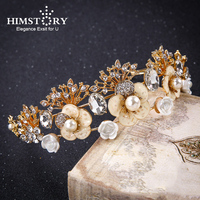 HIMSTORY High End Luxury Gold Color Tiara Pearl Women Crown Baroque Bride Flower Leaves Design Hair