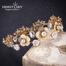 HIMSTORY High End Luxury Gold Color Tiara Pearl Women Crown Baroque Bride Flower&Leaves Design Hair decoration Wedding Accessory