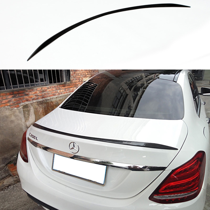 W205 C63 Style Carbon Fiber Car Rear Trunk lip Spoiler Wing For Mercedes Benz W205 4Door 2015-2016 yandex mercedes x156 bumper canards carbon fiber splitter lip for benz gla class x156 with amg package 2015 present