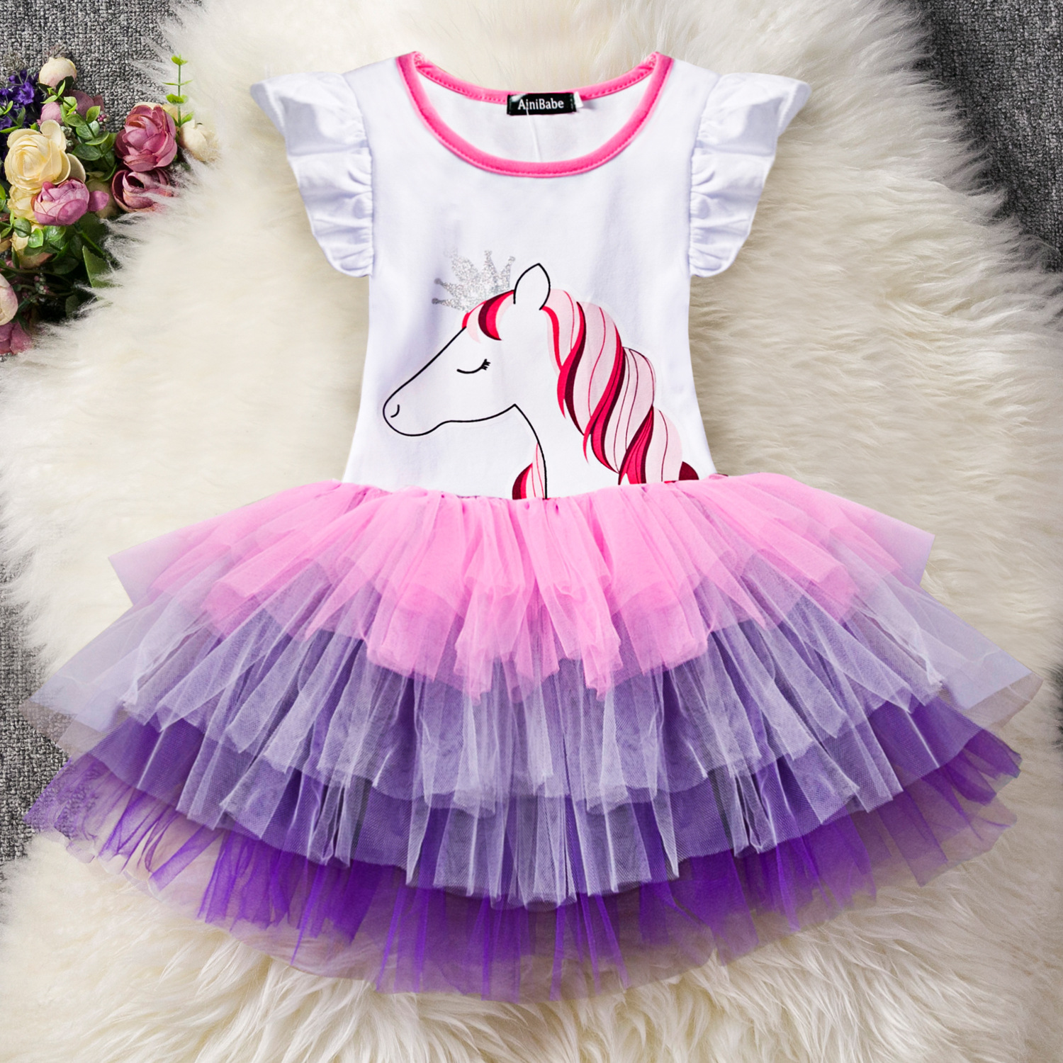 Summer New Korean Version of Unicorn Dress Mesh  Skirt  Ballet Pettiskirt Princess Tulle Party Dance Skirts for Girls