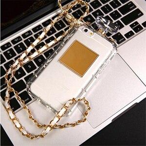 Image 2 - For iPhoneX XR XS 6s 7 8Plus 11 12 Pro MAX Luxury Perfume Bottle TPU Soft Phone Case Handbag With Chain Phone Back Cover Fundas