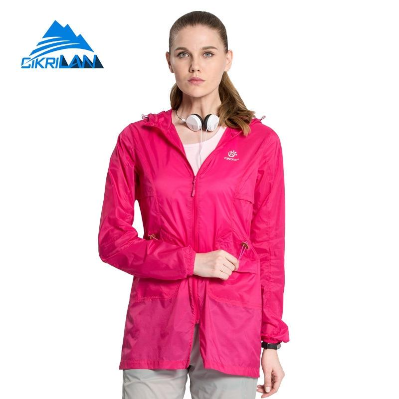 ФОТО 3 colors Summer Hiking Climbing Coat Outdoor Sport Anti-uv Long Skin Jacket Women Travel Casacos Camping Thin Chaquetas Mujer