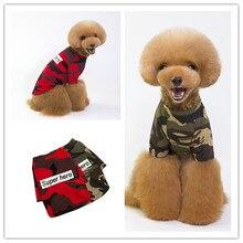Wholesale dog clothing pet spring/summer camouflage shoulder T-shirt camouflage cold shoulder slit t shirt