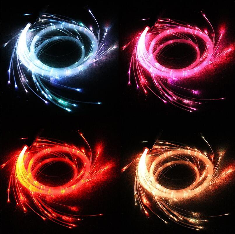 10 couleurs fantaisie LED Fiber optique fouet lumière 10 couleurs changées dans la puissance de la batterie pour le flux-arts danse et fête jouer spectacle