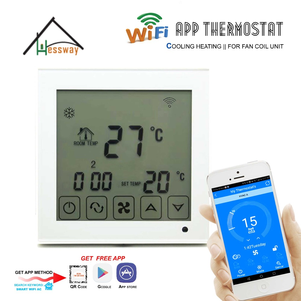 HESSWAY APP by Smartphone 2p programmable FAN VALVE room thermostat wifi fcu for heating/cooling hessway app by smartphone 2p programmable fan valve room thermostat wifi fcu for heating cooling