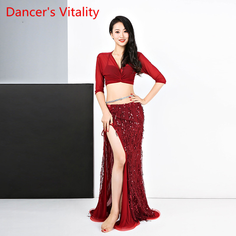 New Belly Dance Exercise Garment Brief Show Suit Mesh Half Sleeves Top+Sequins Skirt 2pcs For Women M,L