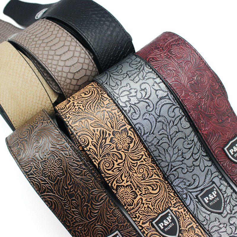 Купить с кэшбэком Guitar Strap Embossing PU Leather for Electric Guitar Bass Acoustic Guitarra Folk Guitar Accessories Leather Straps