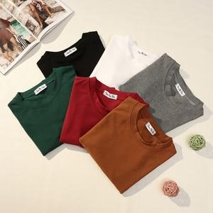 Image 5 - Camiseta básica de manga larga para mujer, Tops cortos, camiseta de estilo coreano para mujer, Camiseta de algodón de partes superiores nuevas 2020