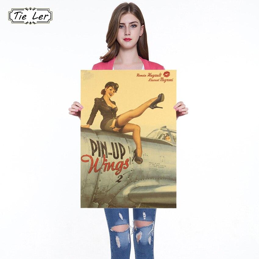 1PC Welt Krieg ll Sexy Mädchen Nostalgischen Zeitung Poster Bar Cafe Schmuck Wand Aufkleber 51,5X36 cm