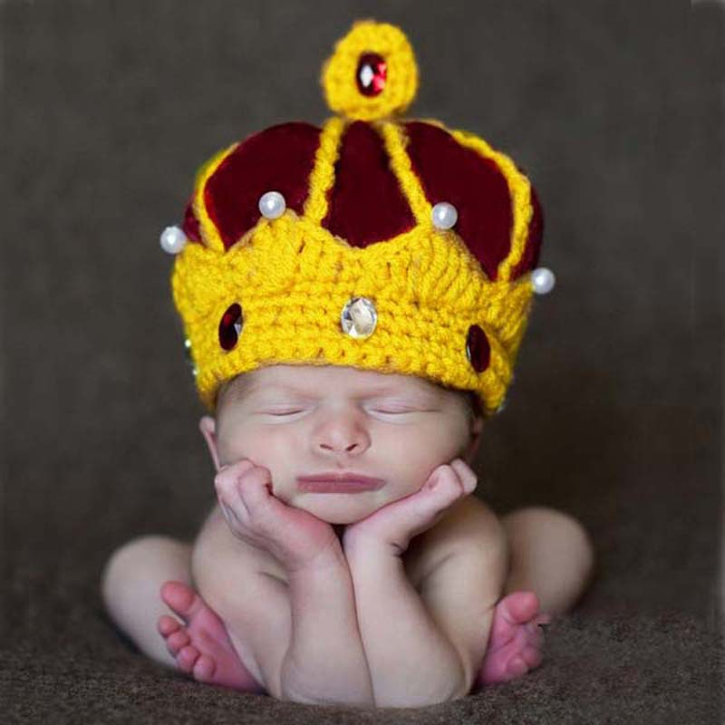 Handmade Crochet King Crown Baby Crystal Pearls Beanies