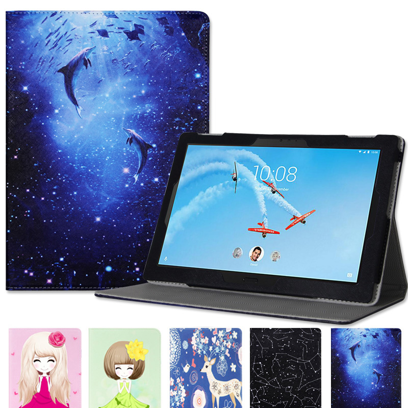 For Lenovo TAB4 10 PU Leather Case for Lenovo TAB4 10 TB-X304L TB-X304F TB-X304N Folding Stand Tablet Case+Stylus Pen+Film slim print case for acer iconia tab 10 a3 a40 one 10 b3 a30 10 1 inch tablet pu leather case folding stand cover screen film pen