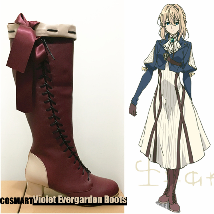 [STOCK]Anime Auto Memories Doll figure Violet Evergarden Cosplay Shoes Victoria Retro Boots Brown and Grey 2 styles free ship