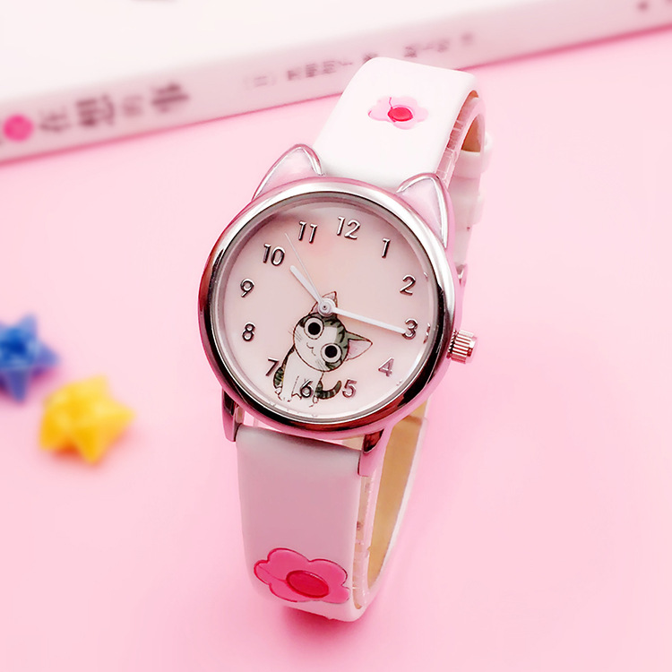 JOYROX Cute Cheese Cat Pattern Kids Watch Quartz Analog Child Watches For Boys Girls Student Clock Gift Relogio Feminino