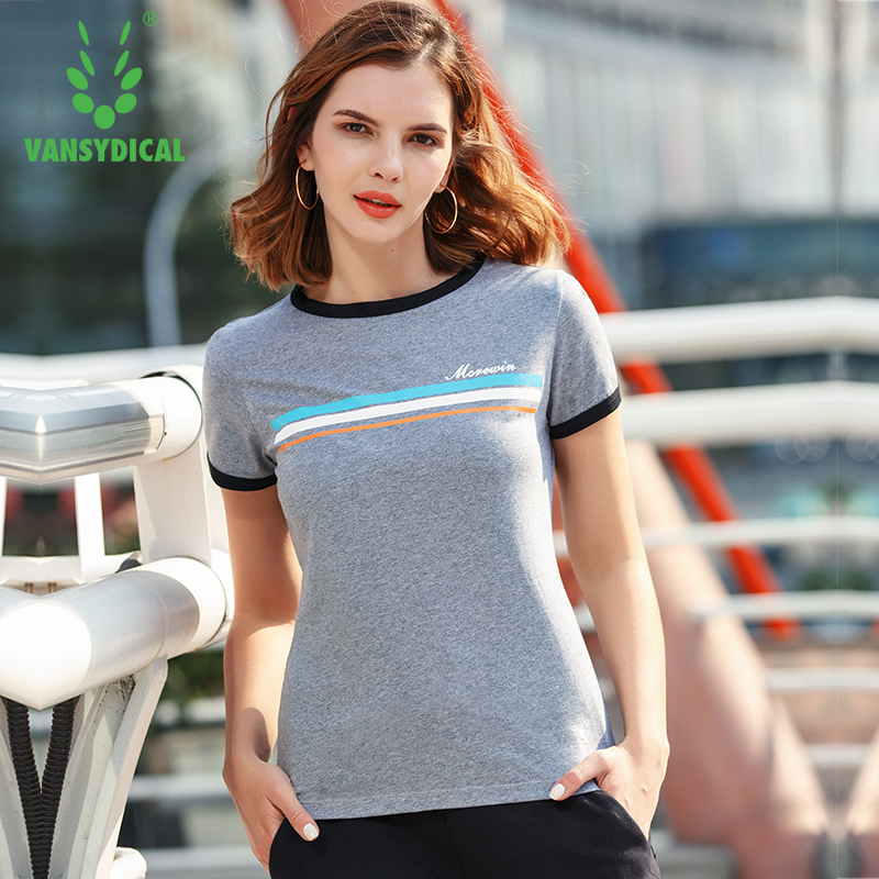 Vansydical Womens Gym Yoga Shirts Short Sleeve Printed Striped Sports T-shirts Loose Quick Dry Outdoor Running Workout Tops Tee