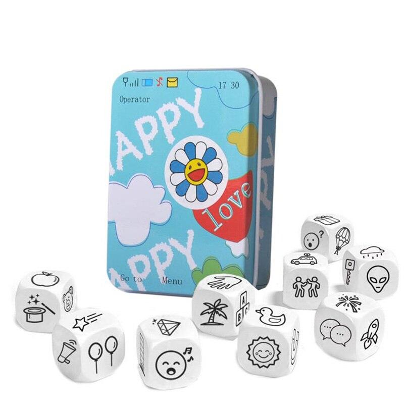 Historia dados rompecabezas juego cuento historia Metal cajas familia/fiesta/amigos padres con niños divertido juego inglés