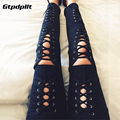 S-XL Women Jeans Spring Womens Fashion Hollow Out Cross Strap Bandage Pencil Pants Sexy 2017 Lace Up Hole Tight Ripped Jeans