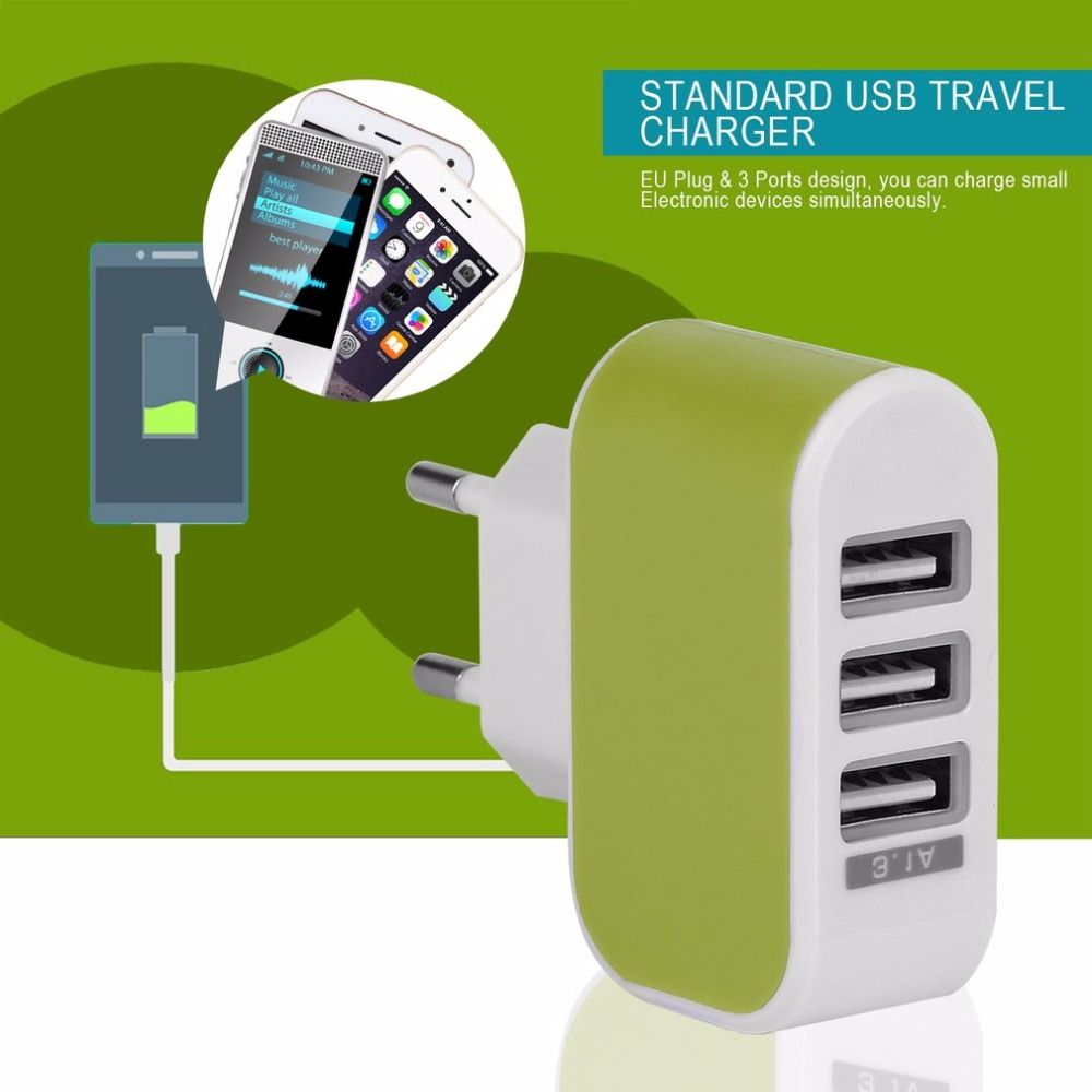 Triple USB Port Wall Home Travel AC Power Charger Adapter 3.1A EU Plug