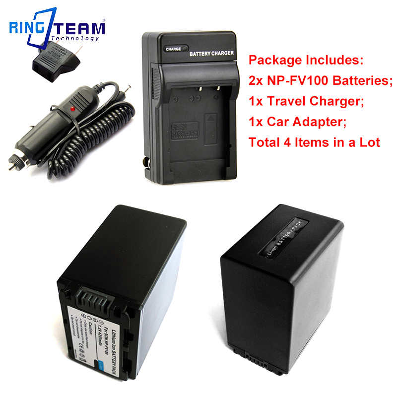 2x NPFV100 NP FV100 Battery and 1x Travel Charger 4 in 1 and 1x Car Adapter