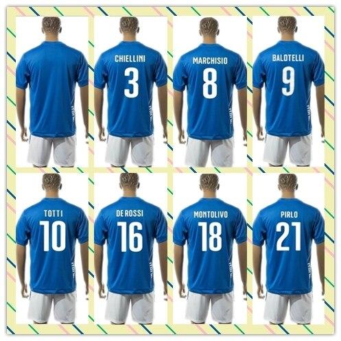 99789b47c Top Sell Uniforms Kit 2015-2016 Italy BUFFON 10  TOTTI 21  PIRLO Blue DE  ROSSI VERRATTI Soccer Jersey Home Full shirt