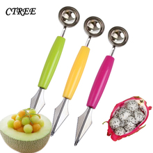 CTREE Watermelon Digging Ball Spoon Stainless Steel Double Head Fruit Carving Knife Kitchen Accessories C641