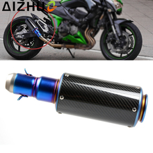 38-51 MM Motorcycle Exhaust Modified Muffle Pipe Universal Motor Stainless Steel Carbon Fiber Slip-on Exhaust Fit Most Motorbike стоимость