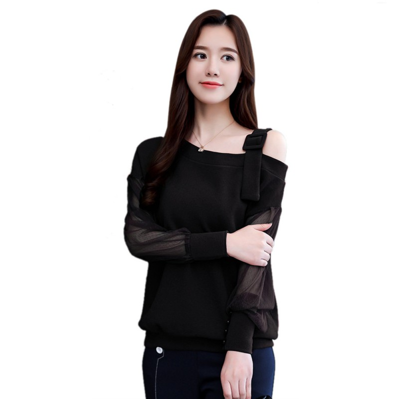 2018 New Stylish Mesh Sleeve Blouse Autumn Women Solid Color Blouse Skew Collar Hollow Out Long Sleeves Shirt Tops Female