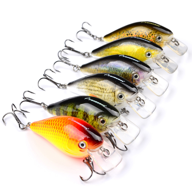 "2017 NEW 6 color Fishing lure 3""-7.6cm Fishing Bait Crankbait Fishing Tackle Hook 6#"