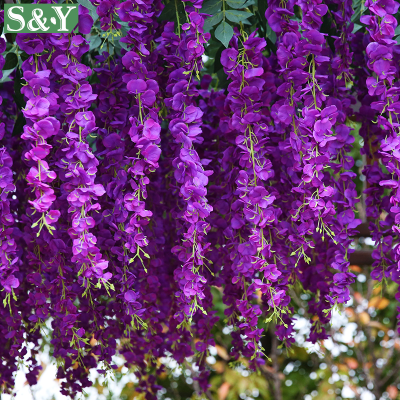 Wedding decoration flowers artificial fake wisteria vine ratta silk wedding decoration flowers artificial fake wisteria vine ratta silk flowers decoration diy hanging flower plant vine home 10 pcs in artificial dried mightylinksfo