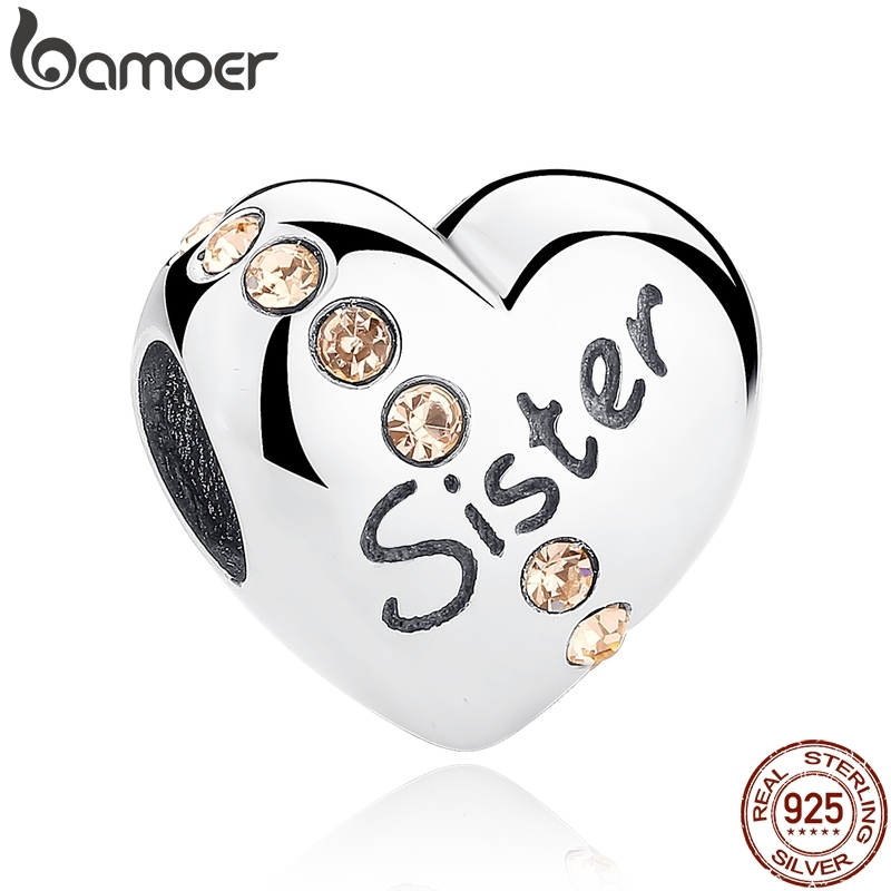 BAMOER Christmas Gift 100% 925 Sterling Silver Sisters Love, Pink CZ Charms fit Bracelet Beads & Jewelry Makings SCC008BAMOER Christmas Gift 100% 925 Sterling Silver Sisters Love, Pink CZ Charms fit Bracelet Beads & Jewelry Makings SCC008