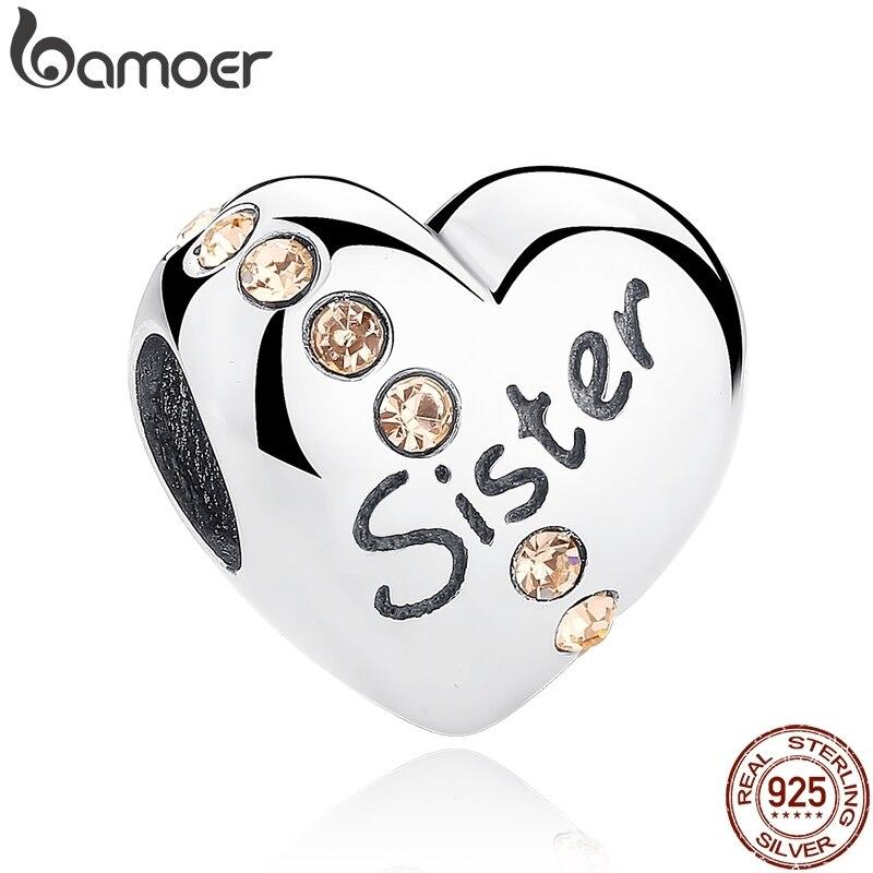 Bamoer presente de natal 100% 925 prata esterlina amor da irmã, rosa cz encantos ajuste pulseira contas & jóias makings scc008
