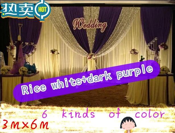 CALDO!! 3*6 m festa di nozze di seta del ghiaccio drapery Riso bianco paillettes di Colore con lo swag fase prop moda Copre la tenda Sullo Sfondo